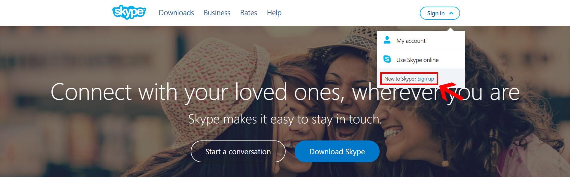 Skype ID webpage