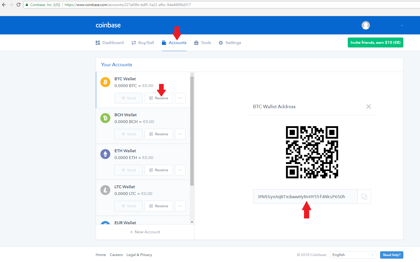 coinbase accounts btc wallet receive find bitcoin address for your account