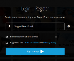 SkyPrivate register