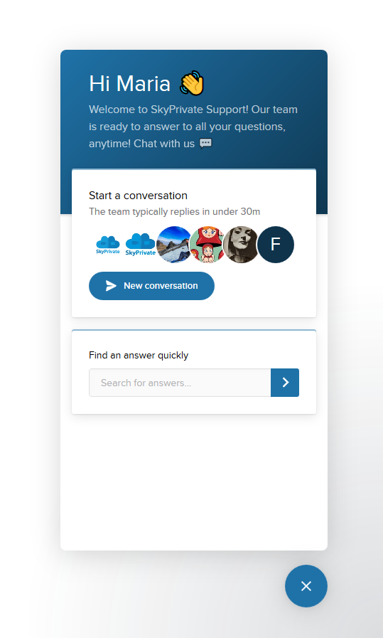 skyprivate live chat intercom